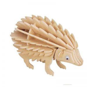 3D houten bouwpakket van een egel. Vervaardigd van FSC hout