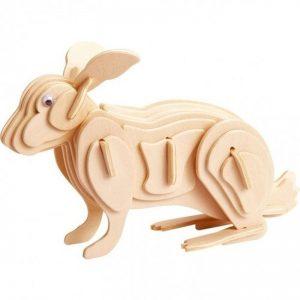 3D houten bouwpakket hout van een konijn. Gemaakt van FSC hout.