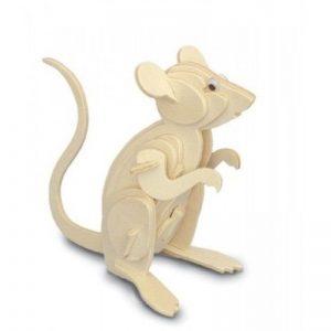 3D houten bouwpakket van een zittende muis. Gemaakt van FSC hout.