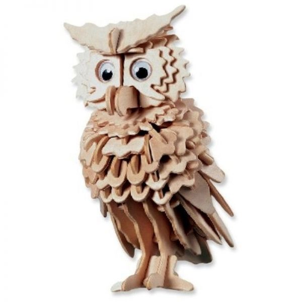 3D houten bouwpakket van een uil. Vervaardigd van FSC hout. 148 onderdelen.