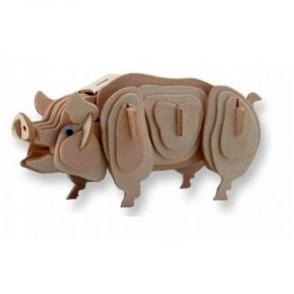 3D houten bouwpakket van een varken. Gemaakt van FSC hout.