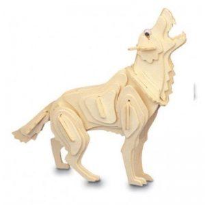 3D houten bouwpakket van een wolf. Gemaakt van FSC hout.