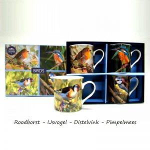 Set van vier mokken met afbeeldingen van Nederlandse vogels