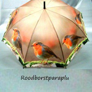 Paraplu met afbeelding van een roodborstje