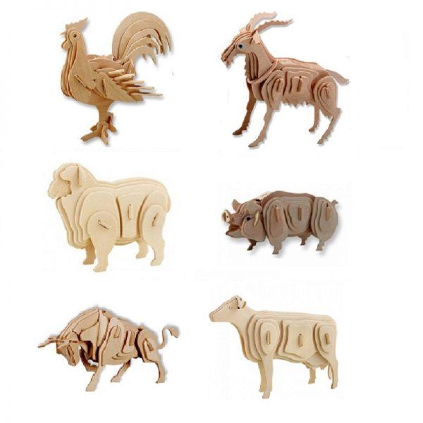 Set van 6 houten bouwpakketten van boerderijdieren