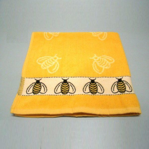 Luxe gele keuken handdoek met bijenmotief