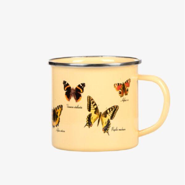 Emaille mok vlinders